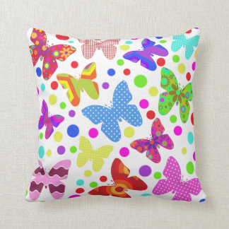 Colorful butterfly polka dot cute animal kids room throw pillow