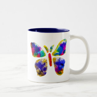 Colorful Butterfly Spray Art Two-Tone Coffee Mug