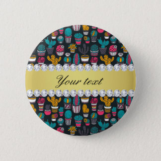 Colorful Cactus Faux Gold Bling Diamonds 2 Inch Round Button
