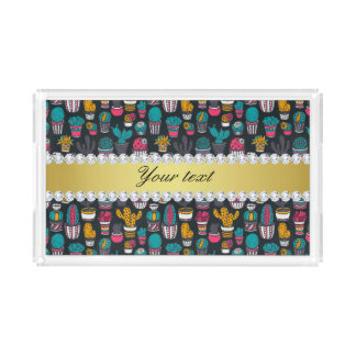 Colorful Cactus Faux Gold Bling Diamonds Acrylic Tray