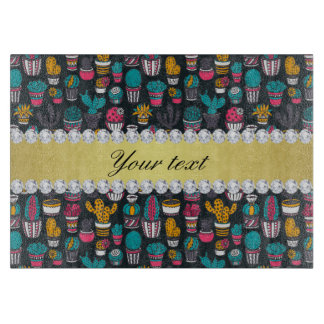 Colorful Cactus Faux Gold Bling Diamonds Boards