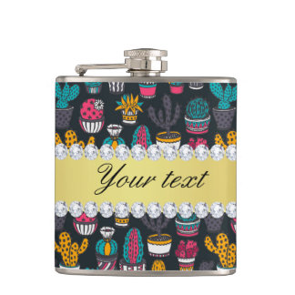 Colorful Cactus Faux Gold Bling Diamonds Hip Flask