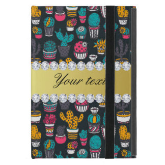 Colorful Cactus Faux Gold Bling Diamonds iPad Mini Covers