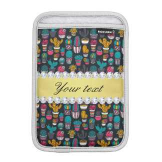 Colorful Cactus Faux Gold Bling Diamonds iPad Mini Sleeve