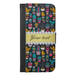 Colorful Cactus Faux Gold Bling Diamonds iPhone 6/6s Plus Wallet Case