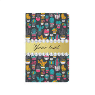 Colorful Cactus Faux Gold Bling Diamonds Journal