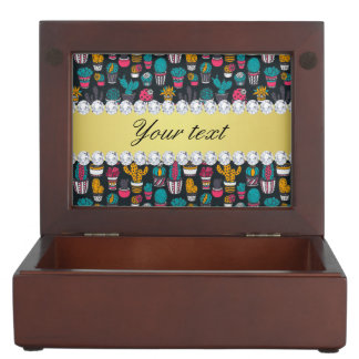 Colorful Cactus Faux Gold Bling Diamonds Keepsake Box