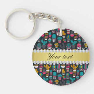 Colorful Cactus Faux Gold Bling Diamonds Keychain