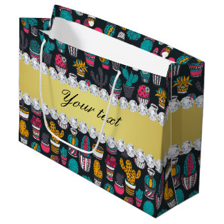 Colorful Cactus Faux Gold Bling Diamonds Large Gift Bag
