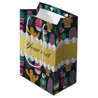 Colorful Cactus Faux Gold Bling Diamonds Medium Gift Bag