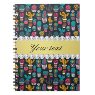 Colorful Cactus Faux Gold Bling Diamonds Notebook