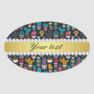 Colorful Cactus Faux Gold Bling Diamonds Oval Sticker
