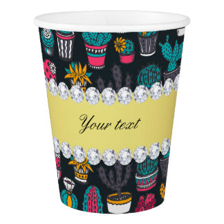 Colorful Cactus Faux Gold Bling Diamonds Paper Cup