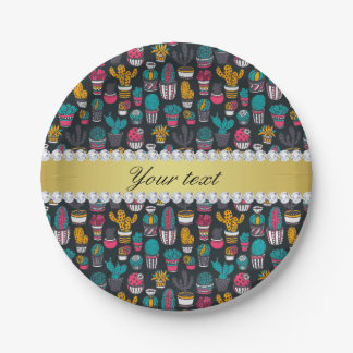 Colorful Cactus Faux Gold Bling Diamonds Paper Plate