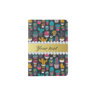 Colorful Cactus Faux Gold Bling Diamonds Passport Holder