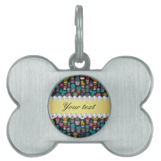 Colorful Cactus Faux Gold Bling Diamonds Pet ID Tag