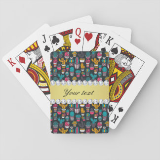 Colorful Cactus Faux Gold Bling Diamonds Playing Cards