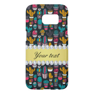 Colorful Cactus Faux Gold Bling Diamonds Samsung Galaxy S7 Case