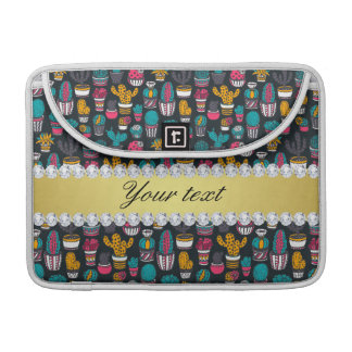 Colorful Cactus Faux Gold Bling Diamonds Sleeve For MacBooks