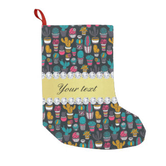 Colorful Cactus Faux Gold Bling Diamonds Small Christmas Stocking