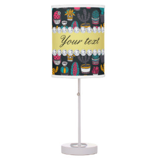 Colorful Cactus Faux Gold Bling Diamonds Table Lamp
