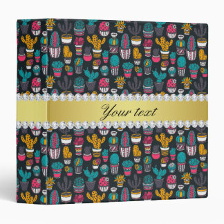 Colorful Cactus Faux Gold Bling Diamonds Vinyl Binders