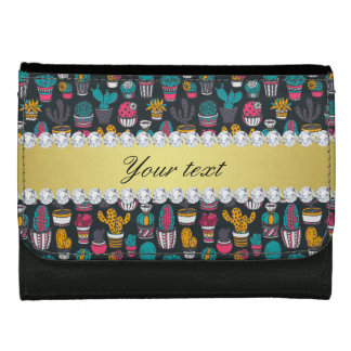 Colorful Cactus Faux Gold Bling Diamonds Wallets