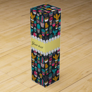 Colorful Cactus Faux Gold Bling Diamonds Wine Gift Box