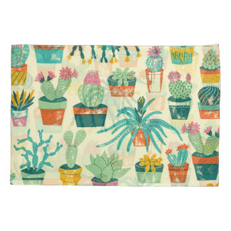 Colorful Cactus Flower Pattern Pillowcase