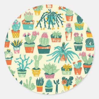 Colorful Cactus Flower Pattern Round Sticker