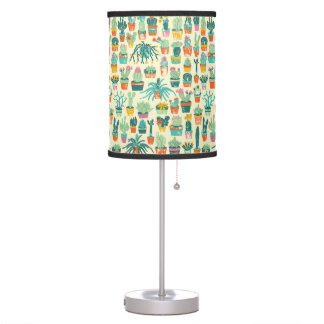 Colorful Cactus Flower Pattern Table Lamp