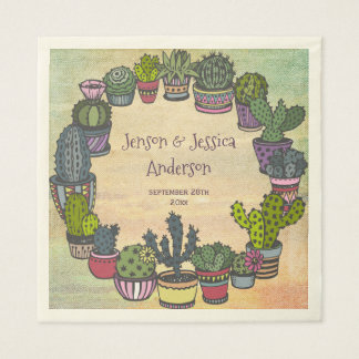 Colorful Cactus Wedding Personalized Disposable Napkin
