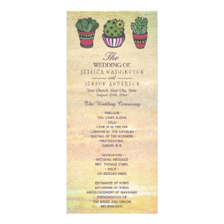Colorful Cactus Wedding Program Personalized Rack Card