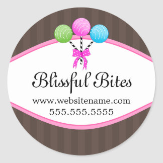 Colorful Cake Pops Bakery Box Seals Round Sticker