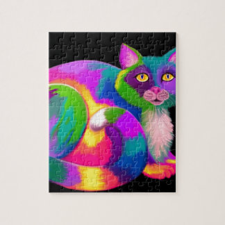 Colorful Calico Cat Jigsaw Puzzle