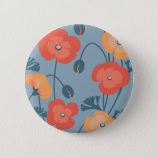 Colorful California Poppy Pattern 2 Inch Round Button