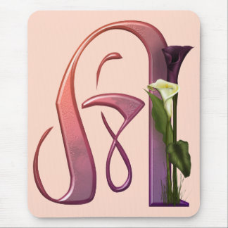 Colorful Calla Initial A Mouse Pad