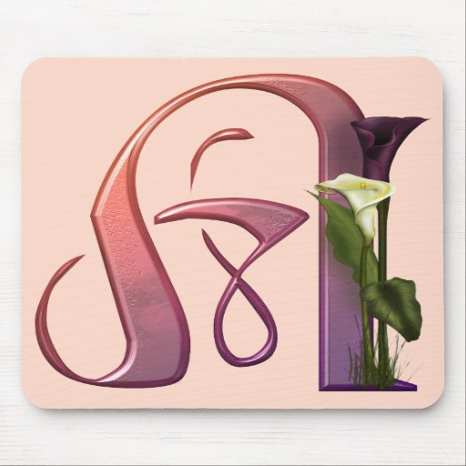 Colorful Calla Initial A Mouse Pads