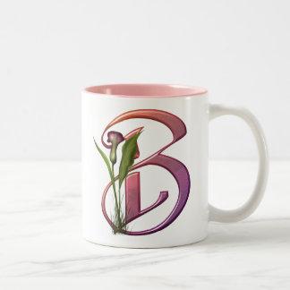 Colorful Calla Initial B Two-Tone Coffee Mug