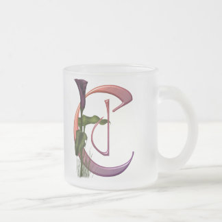 Colorful Calla Initial C Frosted Glass Coffee Mug
