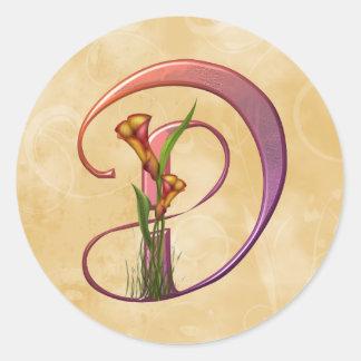 Colorful Calla Initial D Classic Round Sticker