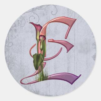Colorful Calla Initial E Classic Round Sticker