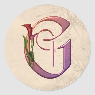 Colorful Calla Initial G Classic Round Sticker