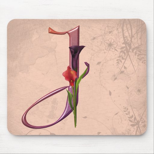 Colorful Calla Initial J Mouse Mat