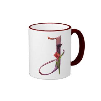 Colorful Calla Initial J Ringer Mug