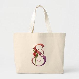 Colorful Calla Initial S Large Tote Bag