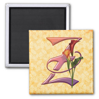 Colorful Calla Initial Z Square Magnet