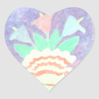Colorful Calla Lilies in Vase Painting Heart Sticker