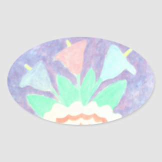 Colorful Calla Lilies in Vase Painting Oval Sticker