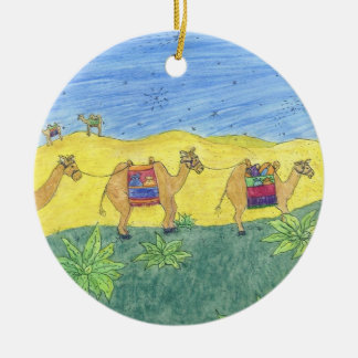 Colorful Camels Round Ceramic Ornament
